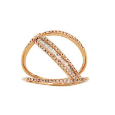 WIDE 14K ROSE GOLD PAVE DIAMOND BAGUETTE  COCKTAIL BAND RING