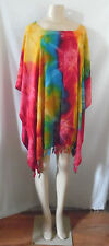 RED TURQUOISE GOLD BLUE TIE DYE BEACH COVER UP PONCHO TOP TUNIC BLOUSE #25
