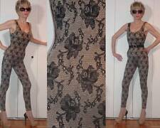 RARE DANSKIN STRETCH NUDE LACE FLOWER DESIGN BODYSUIT UNITARD CATSUIT ONESIE M S