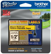 "Brother TZeFX631 1/2"" (12mm) Black on Yellow Flexible tape PT2100, PT-2100"