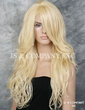 Striking Long Loose wavy wig w. bangs Heat Safe Skin Top Pale Blonde wnta 613
