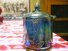 INDIANA CARNIVAL GLASS BLUE HARVEST PATTERN SMALL CANISTER 7 inch