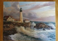 """P. Graham Dunn BOA14 Storm Front Mounted Lighthouse Print Psalm 27:1 16""""x12"""""""