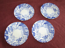 Royal Crown Derby 4 Mikado Pattern vintage blue & white porcelain side plates