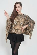 Lady Poncho Stole Cape Shrug Wrap Shawl Jacket Jumper Sweater Tassels Tiger Chic