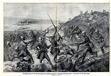 1915 Kum Kale: Türken treiben franz.Senegalneger ins Meer zurück * antique print