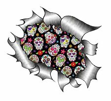 LARGE Ripped Torn Metal Look Design & Mexican Sugar Skull Pattern car sticker