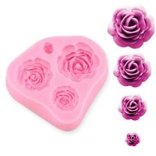 Silicone 4 Size Roses Flower Mould Sugarcraft Cake Decorating Making Tools ES