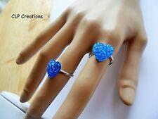 Corazón Azul Cobalto Brillante Anillo de dedo, Placa de Plata Ajustable, Amor Kawaii Lindo