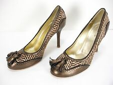 ETRO PONY HAIR LEATHER WING TIP TASSELS PUMPS SHOES WOMEN'S 39.5