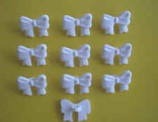 White Bow Novelty Buttons x 10