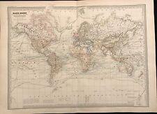 """""""MAPPE-MONDE""""  PLANISPHERIQUE PHYSIQUE ET HYDROGRAPHIQUE 1862"""
