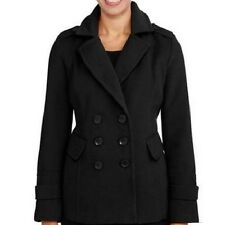 IB Diffusion Women's Double Breasted Peacoat, Large, Rich Black
