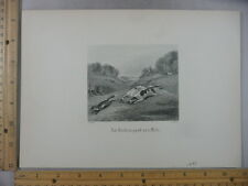 Rare Antique Orig VTG 1890 An Inch As Good As A Mile Fox Hunting Engraving Print