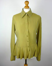 VERSACE Ladies SILK Blend Green Long Sleeved SHIRT / Top - Size M - Medium