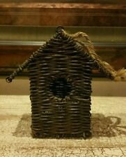 "BIRDHOUSE BASKET WILLOW DESIGN WOOD 7.25"" HIGH DARK FINISH EUC"