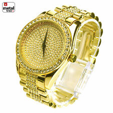 Men's Hip Hop Iced Out Analog Stainless Steel Metal Heavy Band Watches WM 8180 G
