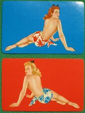 Varga Girl Pinup Art Blonde & Redhead Hawaiian Swimsuits Vintage 1944 Swap Cards