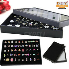 DIY Crafts®100 Ring Display Storage Box Tray Show Case Organiser Earring Holdera