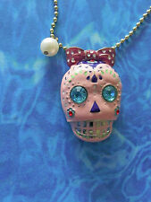 "GP Enamel& Rhinestone DAY of the DEAD /DIA DE LOS MUERTES SUGAR SKULL &28""chain"