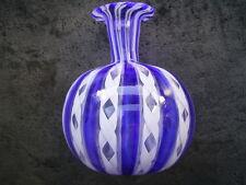Wunderschöne ausgefallene blau-weiße Murano Venini Vase aus Nachlaß