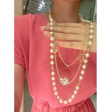 New Fashion Luxury Multilayer Gold Rose White Pearl Flower Long Necklace