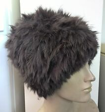 brown real genuine rabbit fur wool knitted hat head warmer unisex