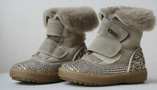 MISSOURI BABY BEIGE SHEEPSKIN FUR LINED SUEDE DIAMANTE BOOTS EU 21 UK 4.5