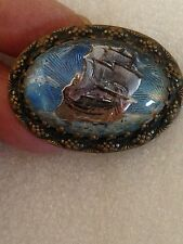 Vintage Reverse Intaglio Painted Cameo of Ship Under Glass Dome Pin