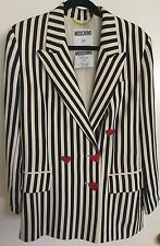 Vtg Moschino IT 42 US 8 Couture Cruise Me Baby 80s Navy Cream Stripe Blazer
