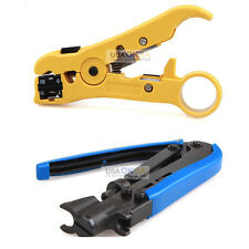 Compression Tool RG59 RG6 RG11 F Connector Coax Coaxial Cable Crimper Stripper