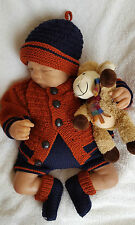 Baby Knitting Pattern DK #63 TO KNIT Boys or Reborn Dolls Cardigan, Hat, Booties