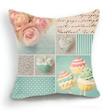 Retro Design 18'' Cushion Cover Pillow Case Pink Flower Blue Cupcake Home Decor