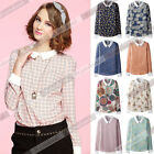 Women's Casual Loose Peter Pan Collar Long Sleeve Chiffon Slim Shirt Blouse Tops