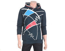 NII Mens Casual Unique Pattern Hooded Sweatshirt Hoodie Navy Blue Size S NWT