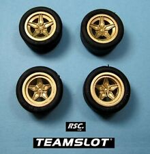 TEAM SLOT 1:32 LANCIA STRATOS GOLD WHEELS 2 FRONT & 2 REAR + 4 SLICK TIRES