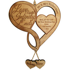 Personalised Infinity Sign Love Heart Plaque Gift Wedding Engagement Anniversary