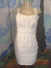EN FOCUS STUDIO 12 IVORY LAYERED LACE BODICE KNEE LENGTH SLEEVELESS STRAP DRESS