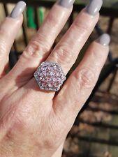 Open Cluster Oval Cut Kunzite Ring. Sterling silver, Size 7.5