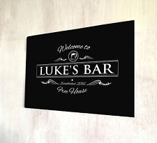 Personalised Welcome Beer label Bar sign Home Bar A4 metal plaque Shabby Chic
