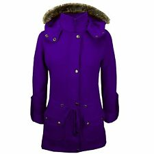 Brand New Womens Ladies Luxuary Fleece Parka Jacket Coat Faux Fur Plus Sizes