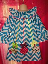 Patchwork Christmas  Ornaments Chevron  Dress - Size 2t ,3t,4t PICK YOUR SIZE
