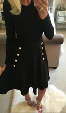 LADIES NEW MILITARY SKATER DRESS WITH LONG SLEEVES