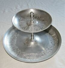 Aluminum Dessert Two Tiered Serving Tray Mid Century