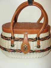 VINTAGE 50s*IVORY WHITE&GREEN RATTAN BASKET WICKER FLORAL LEATHER BOX BAG PURSE