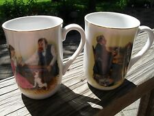 2 1982 NORMAN ROCKWELL Cup Mug WHITE Apple Bobbing, A Hopeless Case