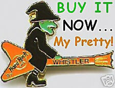 Hard Rock Cafe WHISTLER 1997 HALLOWEEN PIN WITCH Riding Guitar