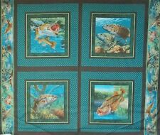 4 Block Panel of Fish Walleye Bass Pillow Quilt Fabric Squares Cotton quilting