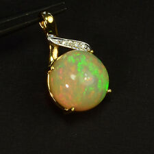 18k Solid Yellow Gold 7.45CT Fine Ethiopian Welo Opal Diamond accent Pendant