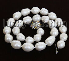 """luster natural baroque 17"""" 17mm rice white freshwater pearls necklace j11437"""